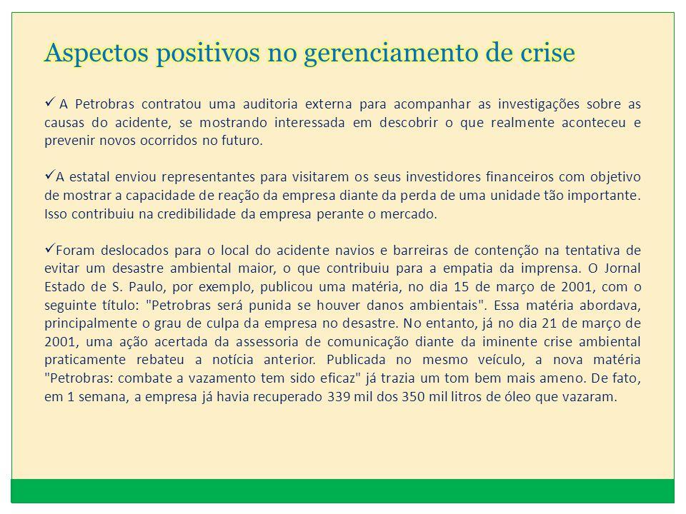 Aspectos positivos no gerenciamento de crise