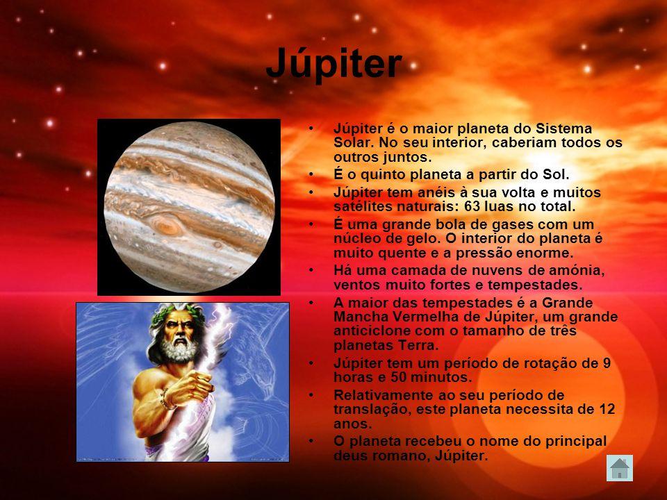 Júpiter Júpiter é o maior planeta do Sistema Solar. No seu interior, caberiam todos os outros juntos.