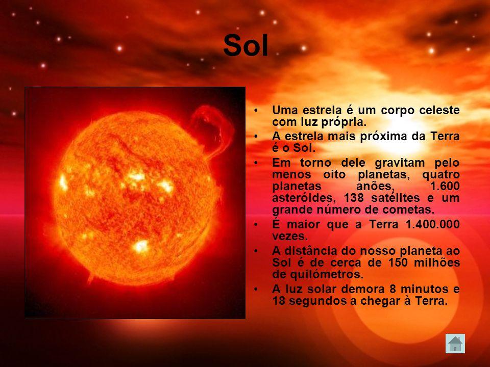 Sol Uma estrela é um corpo celeste com luz própria.