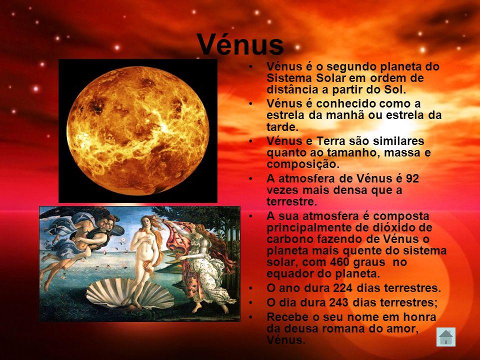 Vénus Vénus é o segundo planeta do Sistema Solar em ordem de distância a partir do Sol.