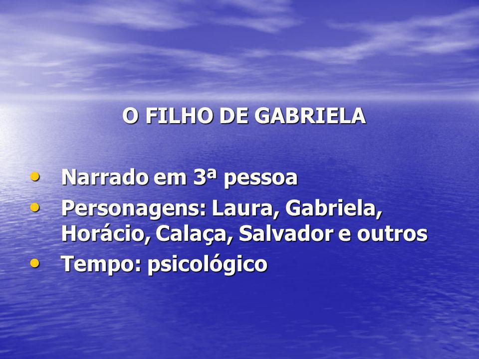 O FILHO DE GABRIELA Narrado em 3ª pessoa. Personagens: Laura, Gabriela, Horácio, Calaça, Salvador e outros.