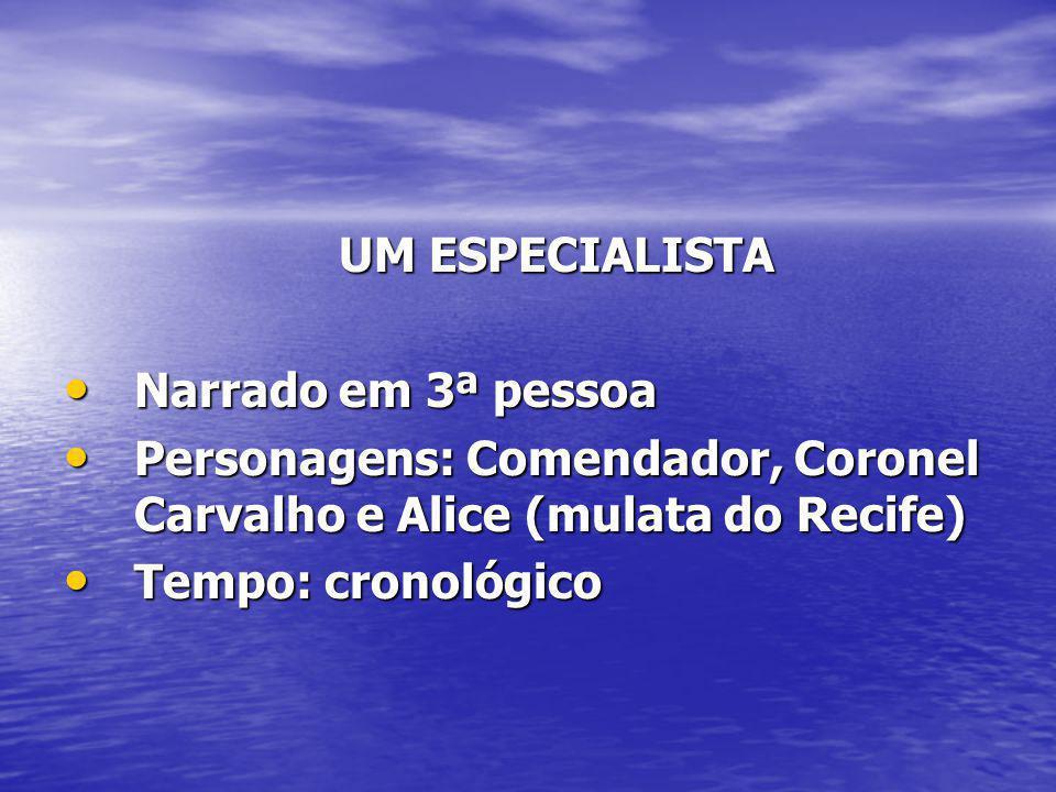 UM ESPECIALISTA Narrado em 3ª pessoa. Personagens: Comendador, Coronel Carvalho e Alice (mulata do Recife)