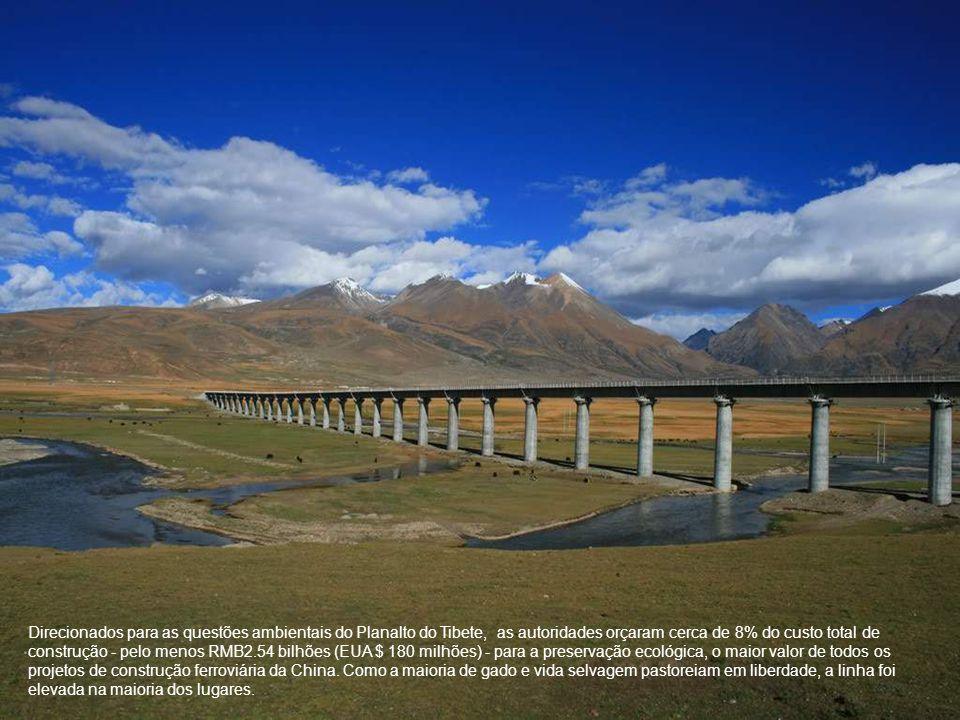 Direcionados para as questões ambientais do Planalto do Tibete, as autoridades orçaram cerca de 8% do custo total de construção - pelo menos RMB2.54 bilhões (EUA $ 180 milhões) - para a preservação ecológica, o maior valor de todos os projetos de construção ferroviária da China.