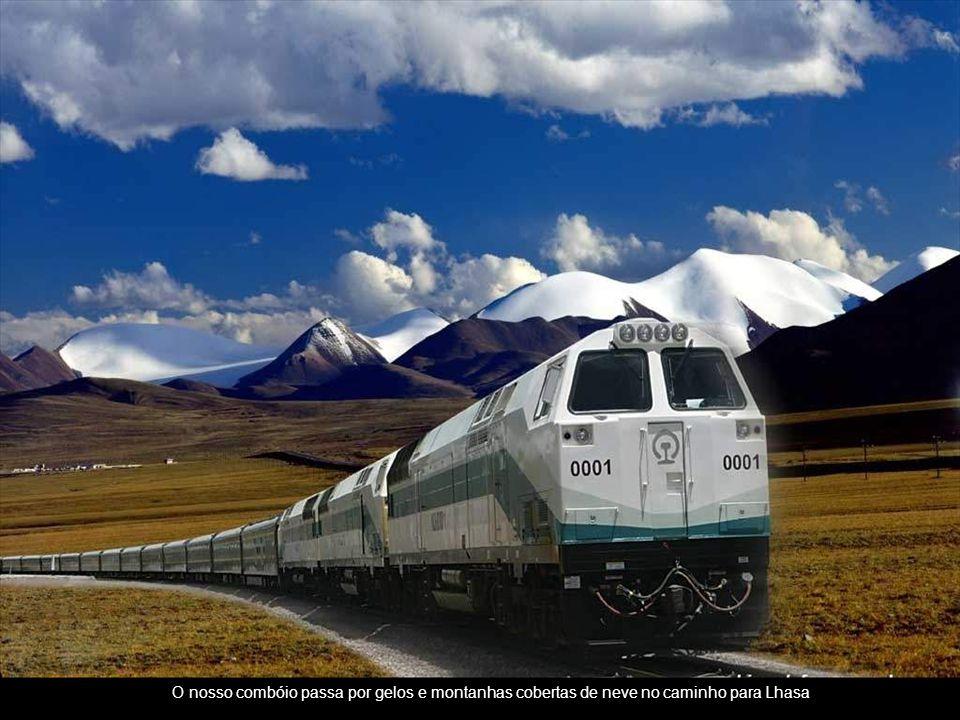 O nosso combóio passa por gelos e montanhas cobertas de neve no caminho para Lhasa