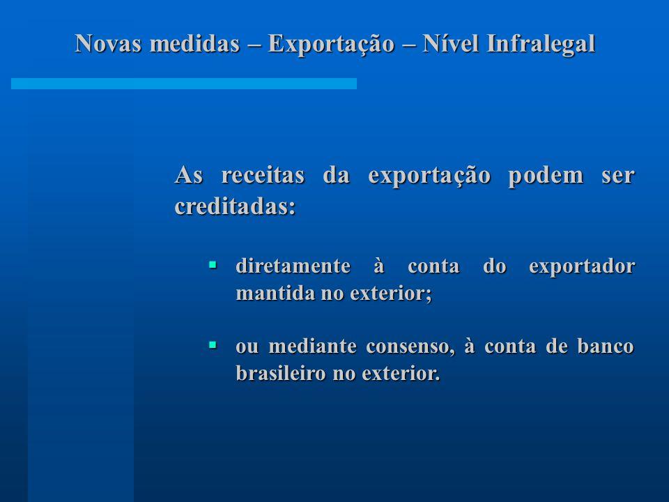 Novas medidas – Exportação – Nível Infralegal