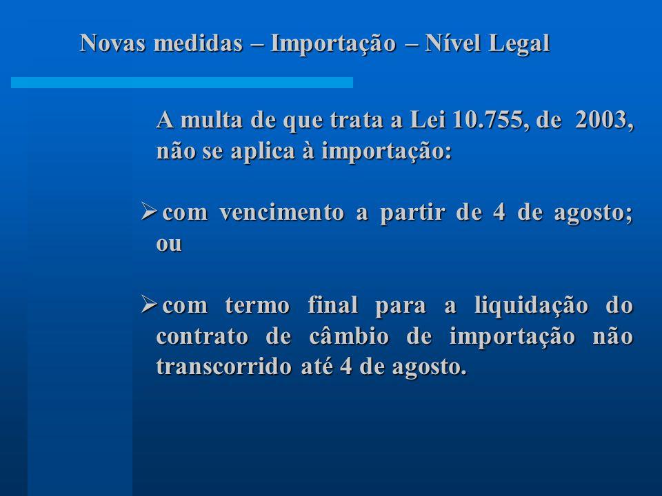 Novas medidas – Importação – Nível Legal