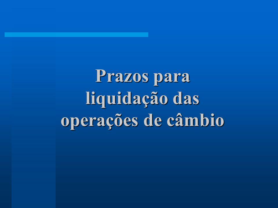 Prazos para liquidação das operações de câmbio