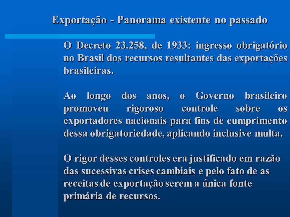 Exportação - Panorama existente no passado