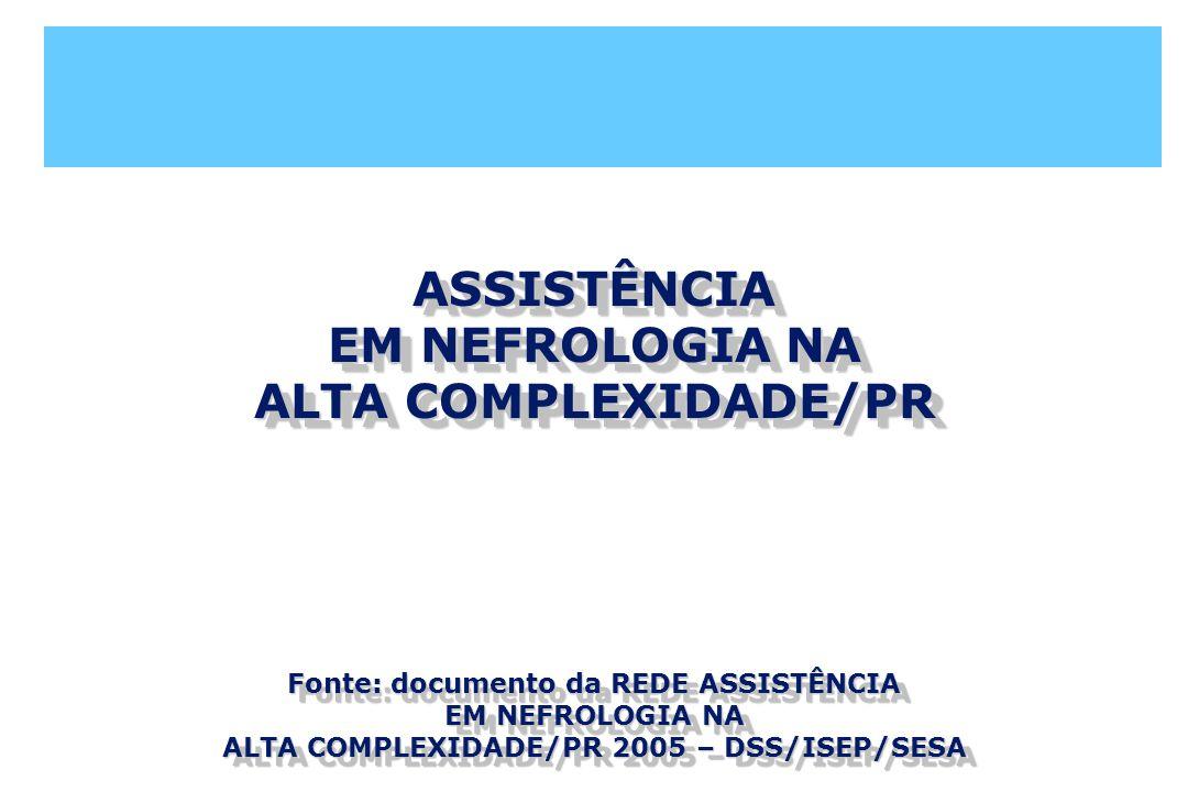 ASSISTÊNCIA EM NEFROLOGIA NA ALTA COMPLEXIDADE/PR Fonte: documento da REDE ASSISTÊNCIA EM NEFROLOGIA NA ALTA COMPLEXIDADE/PR 2005 – DSS/ISEP/SESA