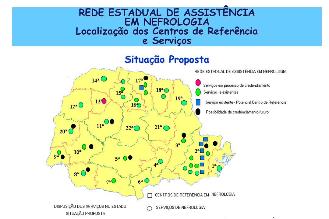 REDE ESTADUAL DE ASSISTÊNCIA EM NEFROLOGIA Localização dos Centros de Referência e Serviços Situação Proposta