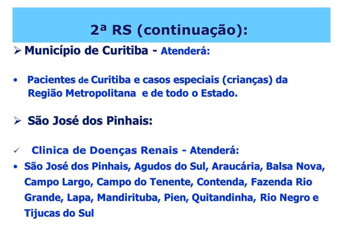 2ª RS (continuação): Município de Curitiba - Atenderá: