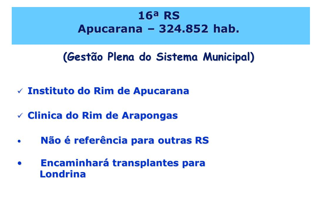 16ª RS Apucarana – 324.852 hab. (Gestão Plena do Sistema Municipal)