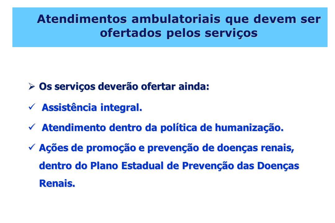 Atendimentos ambulatoriais que devem ser ofertados pelos serviços