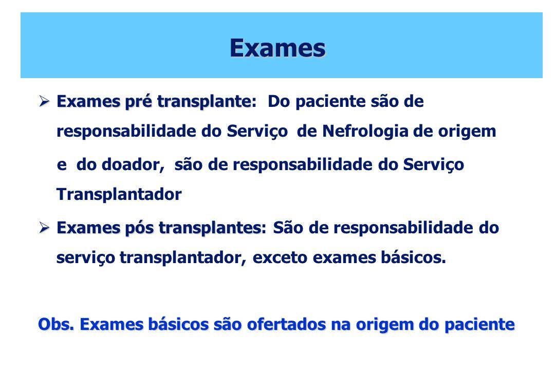 Exames Exames pré transplante: Do paciente são de responsabilidade do Serviço de Nefrologia de origem.