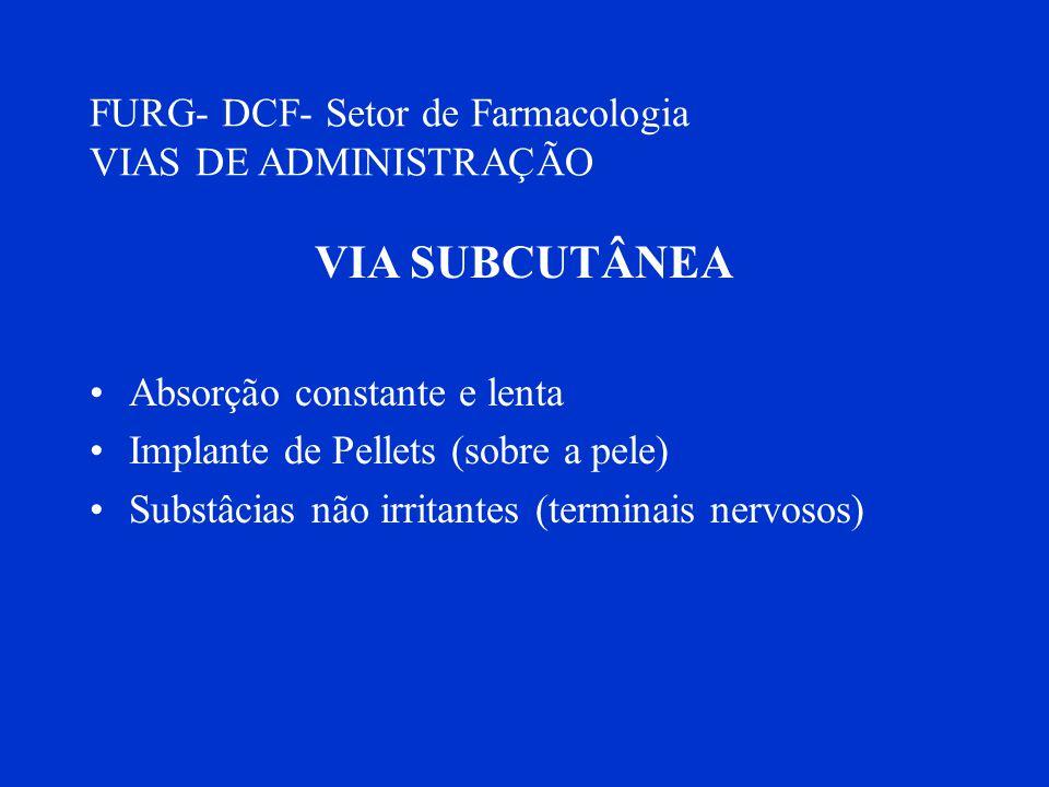 VIA SUBCUTÂNEA FURG- DCF- Setor de Farmacologia VIAS DE ADMINISTRAÇÃO
