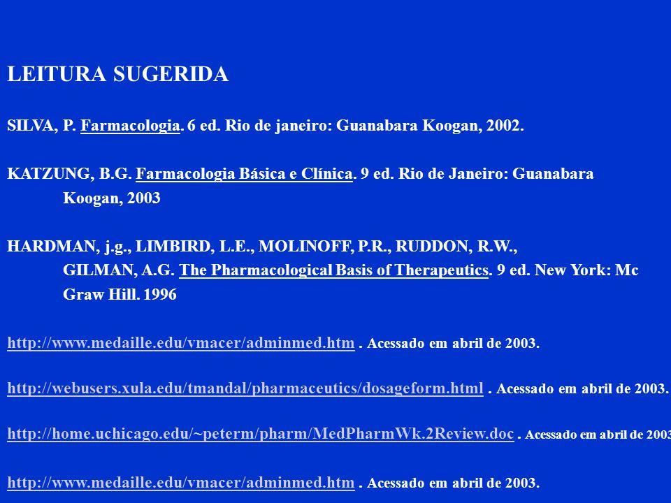 LEITURA SUGERIDA SILVA, P. Farmacologia. 6 ed. Rio de janeiro: Guanabara Koogan, 2002.