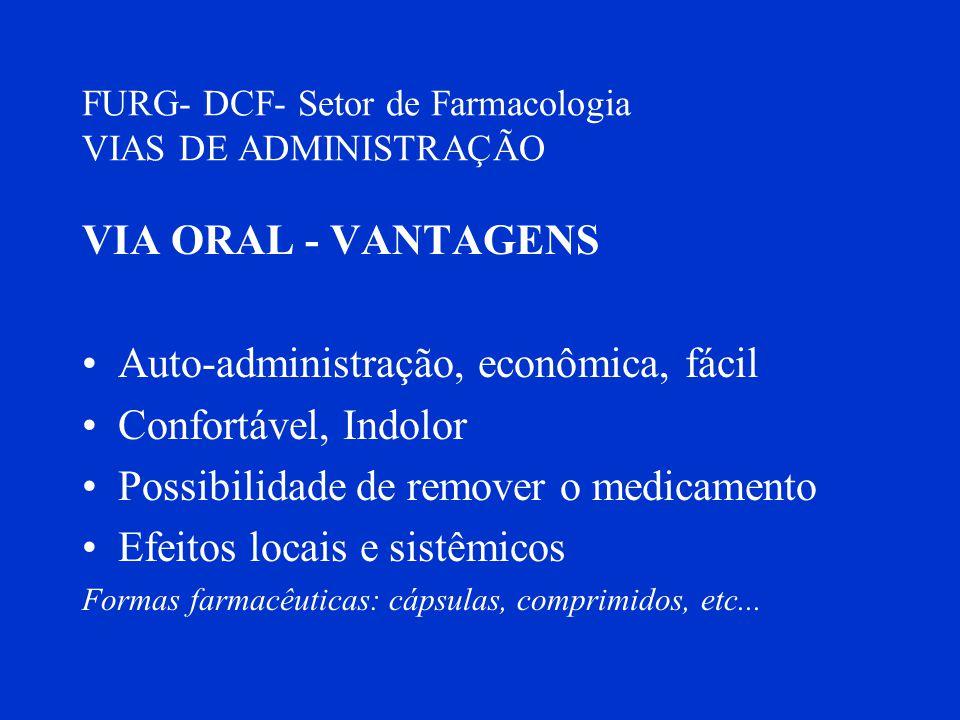 FURG- DCF- Setor de Farmacologia VIAS DE ADMINISTRAÇÃO