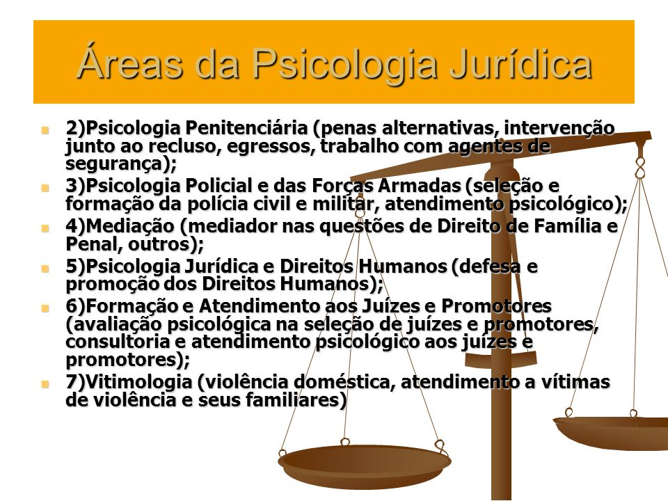 Áreas da Psicologia Jurídica