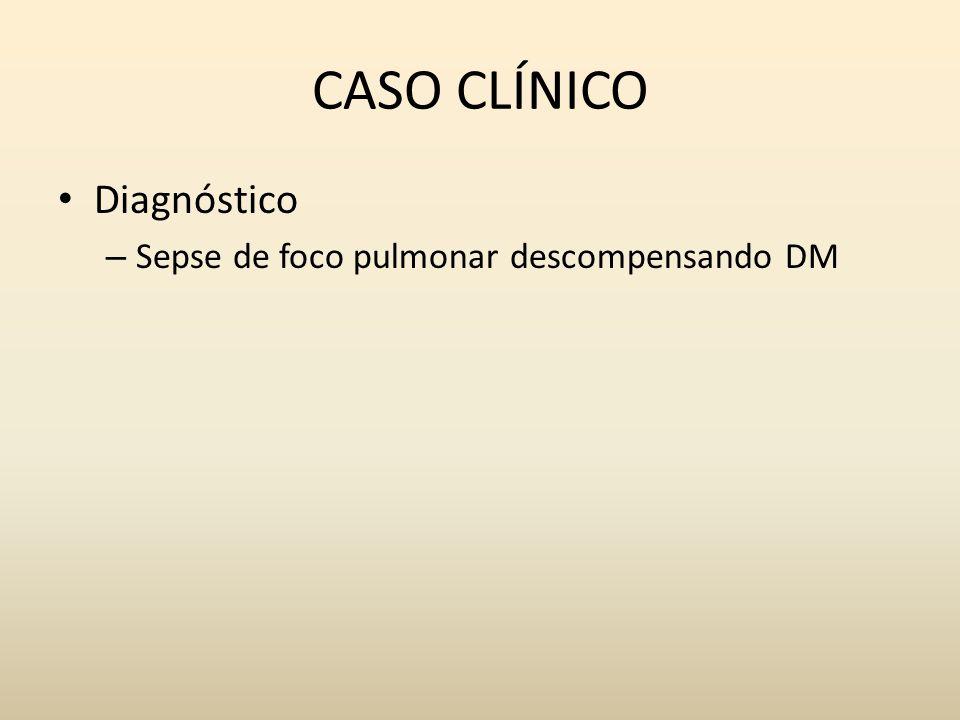 CASO CLÍNICO Diagnóstico Sepse de foco pulmonar descompensando DM
