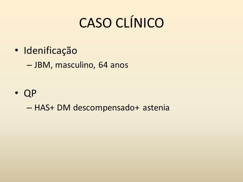 CASO CLÍNICO Idenificação QP JBM, masculino, 64 anos
