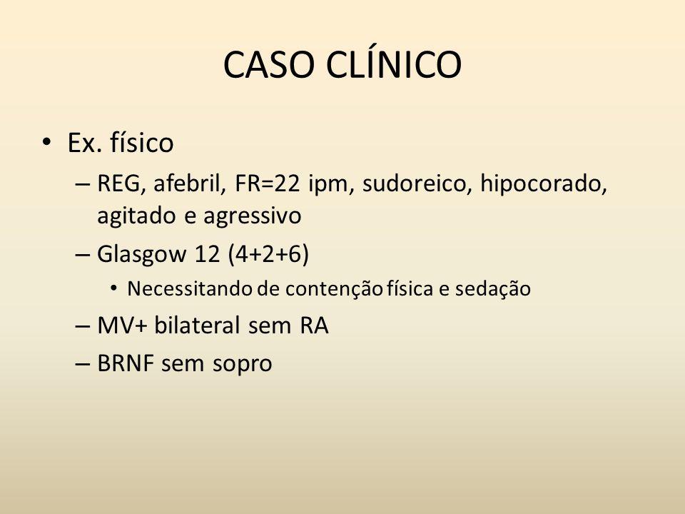 CASO CLÍNICO Ex. físico. REG, afebril, FR=22 ipm, sudoreico, hipocorado, agitado e agressivo. Glasgow 12 (4+2+6)