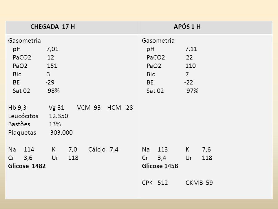 Exames laboratoriais CHEGADA 17 H APÓS 1 H Gasometria pH 7,01 PaCO2 12