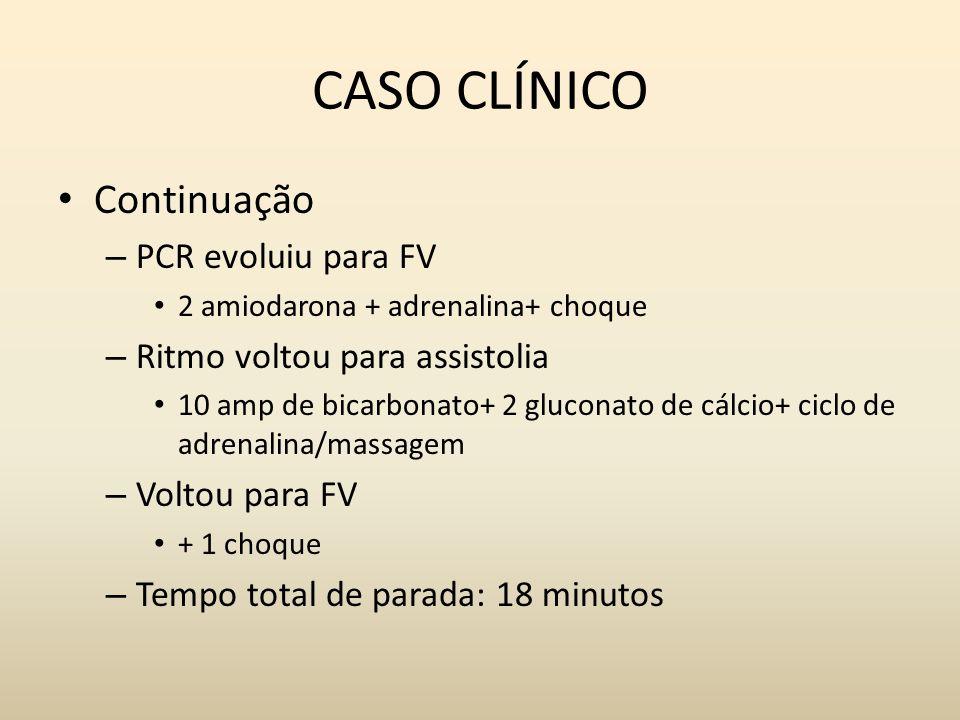 CASO CLÍNICO Continuação PCR evoluiu para FV