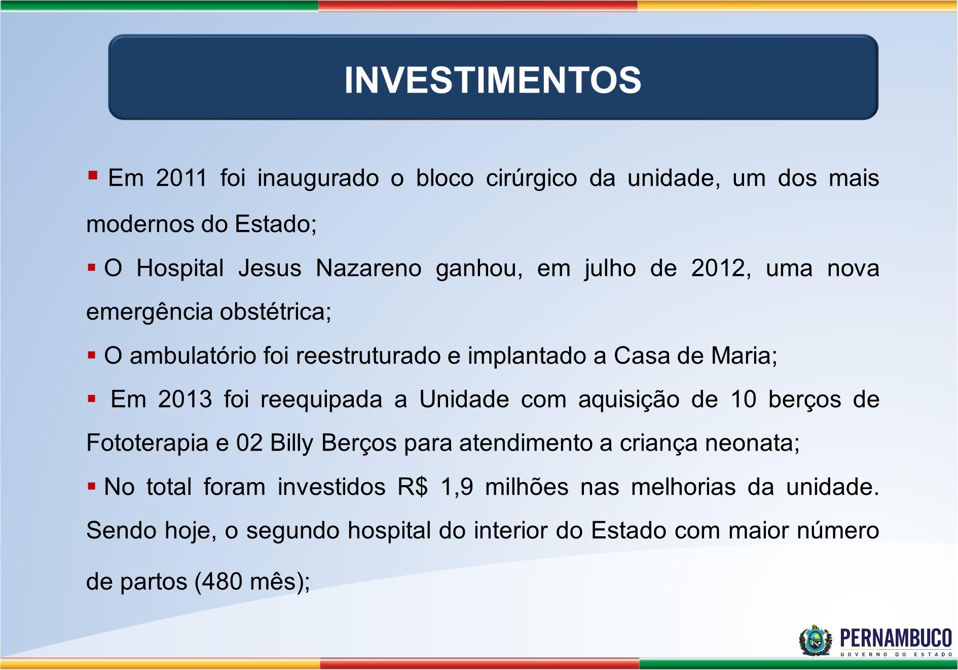 Em 2011 foi inaugurado o bloco cirúrgico da unidade, um dos mais modernos do Estado;