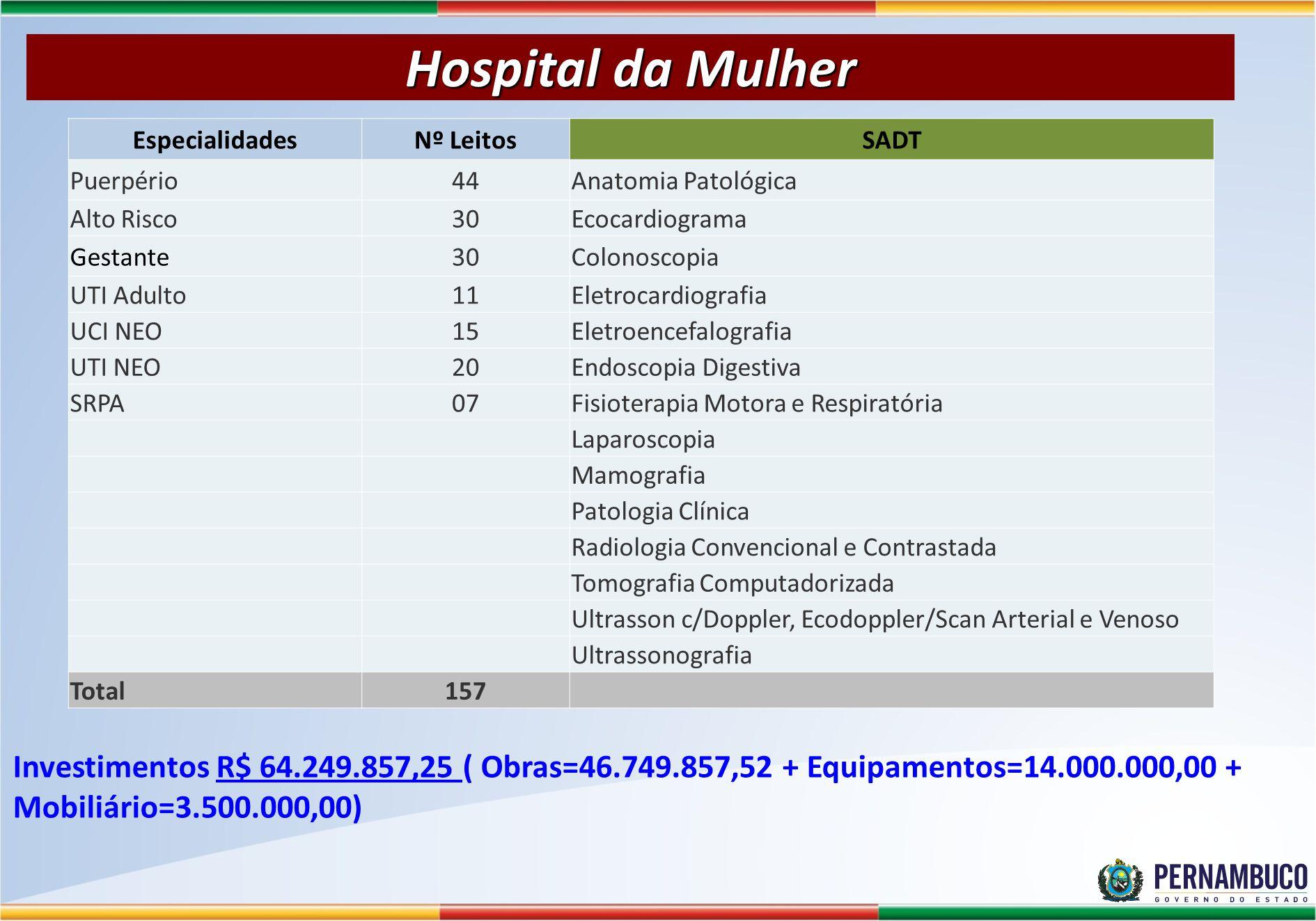 Hospital da Mulher Especialidades. Nº Leitos. SADT. Puerpério. 44. Anatomia Patológica. Alto Risco.