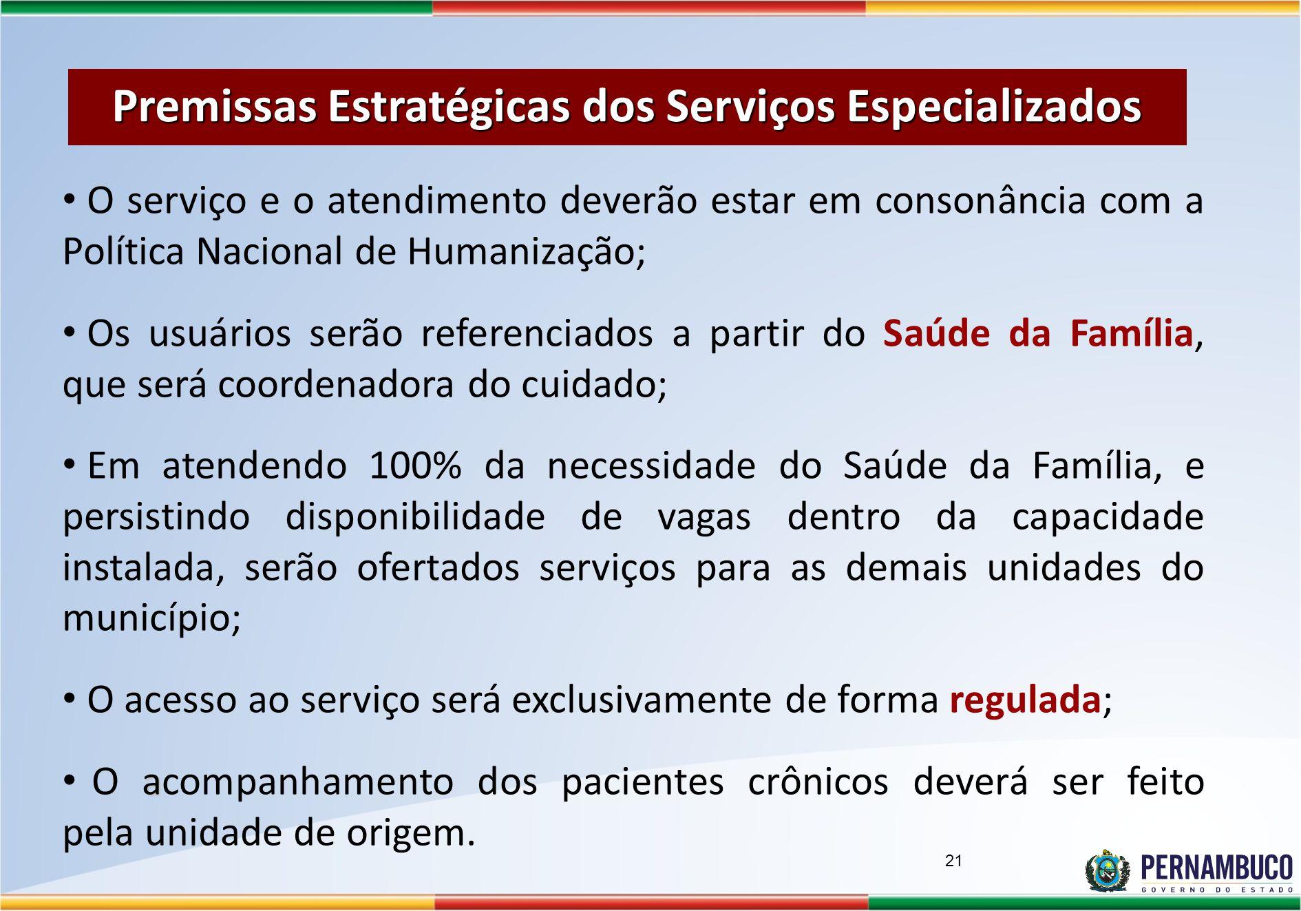 Premissas Estratégicas dos Serviços Especializados