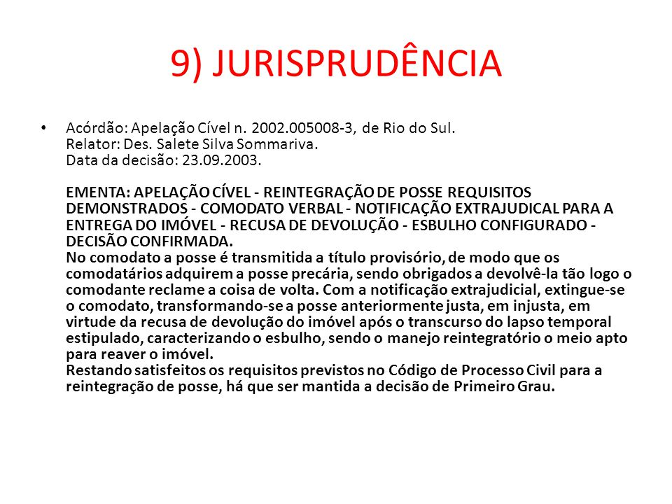 9) JURISPRUDÊNCIA
