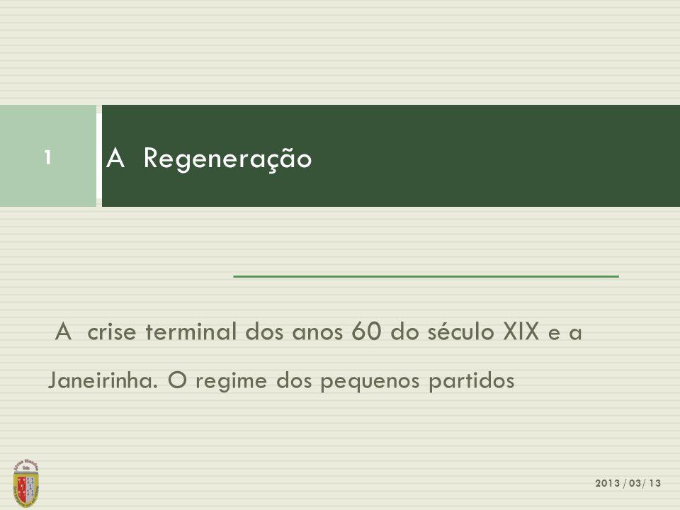 A Regeneração A crise terminal dos anos 60 do século XIX e a Janeirinha. O regime dos pequenos partidos.