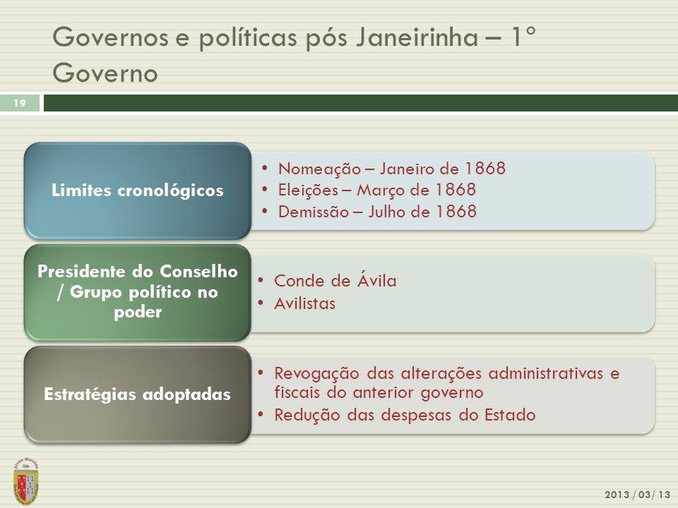 Governos e políticas pós Janeirinha – 1º Governo