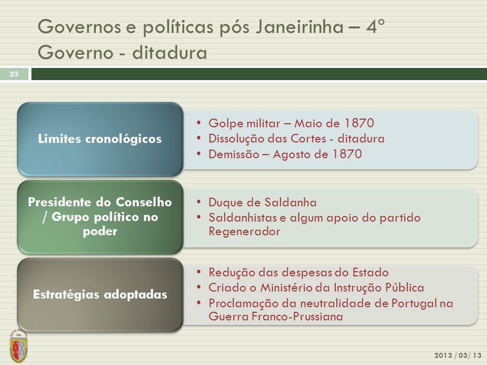 Governos e políticas pós Janeirinha – 4º Governo - ditadura