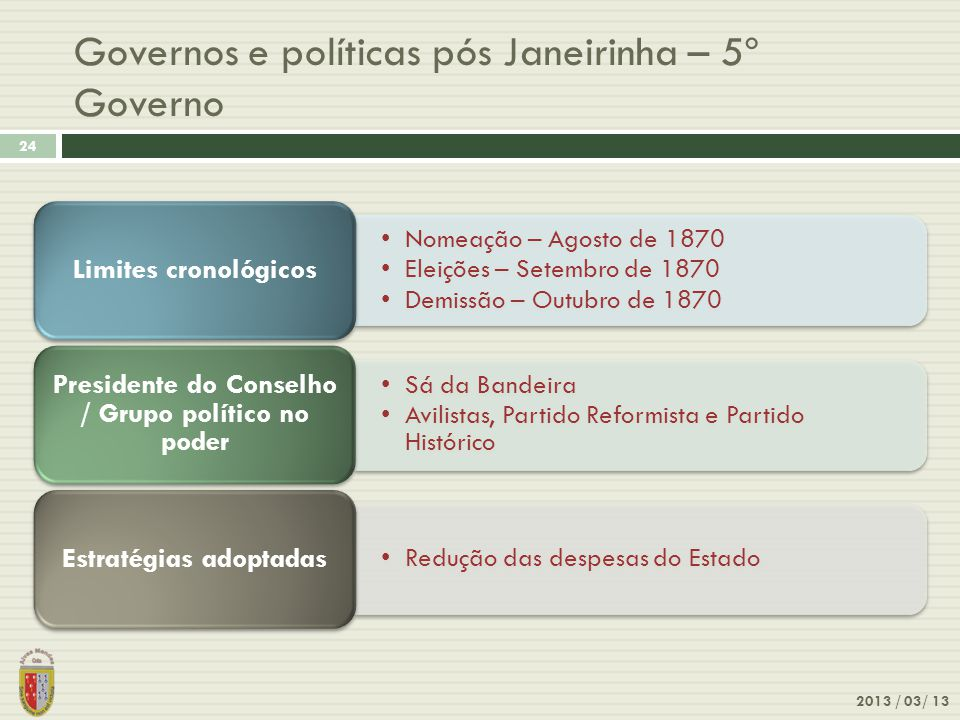 Governos e políticas pós Janeirinha – 5º Governo