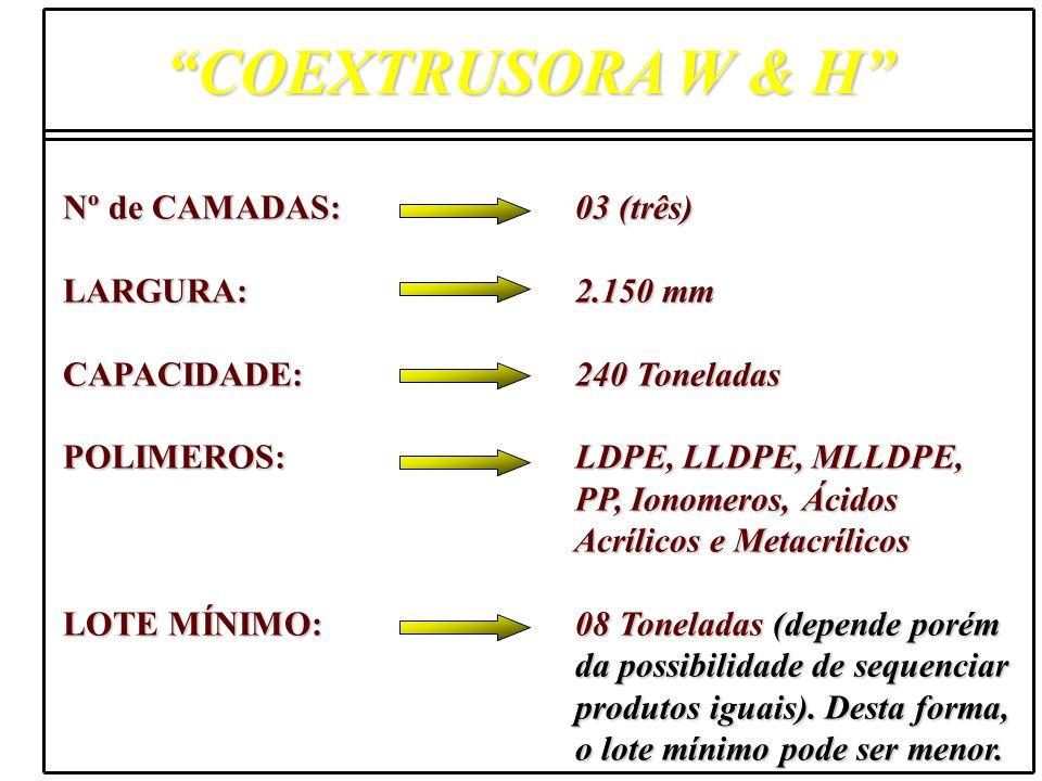 COEXTRUSORA W & H Nº de CAMADAS: 03 (três) LARGURA: 2.150 mm