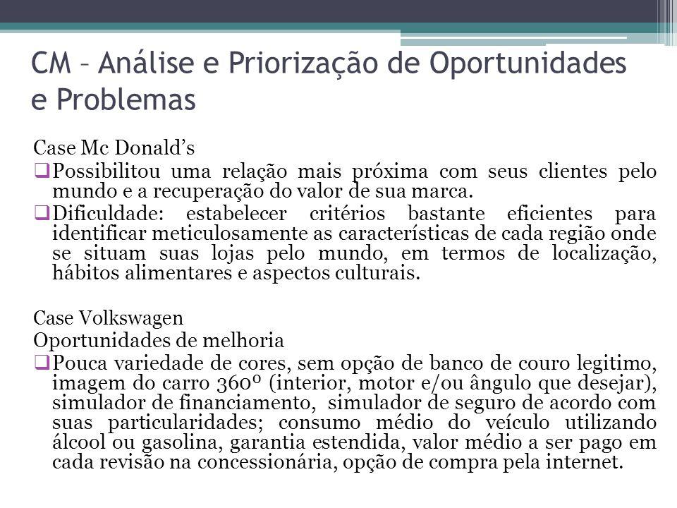 CM – Análise e Priorização de Oportunidades e Problemas