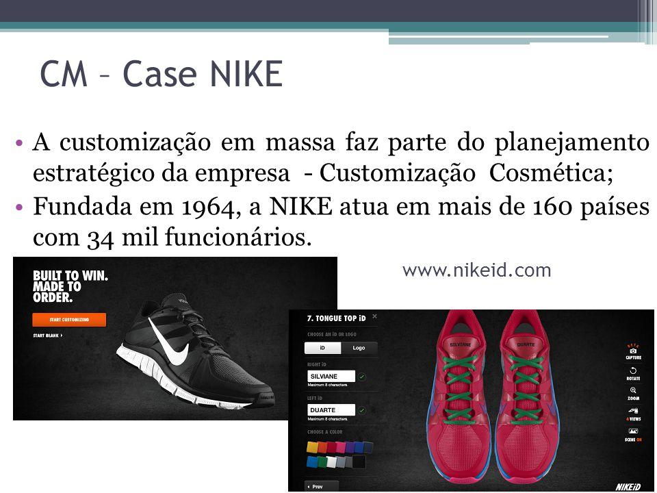 CM – Case NIKE A customização em massa faz parte do planejamento estratégico da empresa - Customização Cosmética;
