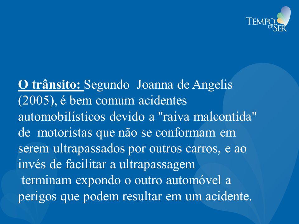 O trânsito: Segundo Joanna de Angelis (2005), é bem comum acidentes automobilísticos devido a raiva malcontida de motoristas que não se conformam em serem ultrapassados por outros carros, e ao invés de facilitar a ultrapassagem terminam expondo o outro automóvel a perigos que podem resultar em um acidente.
