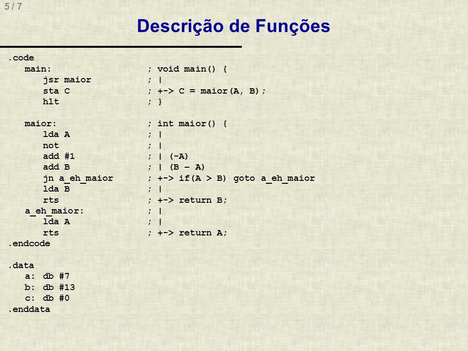 Descrição de Funções
