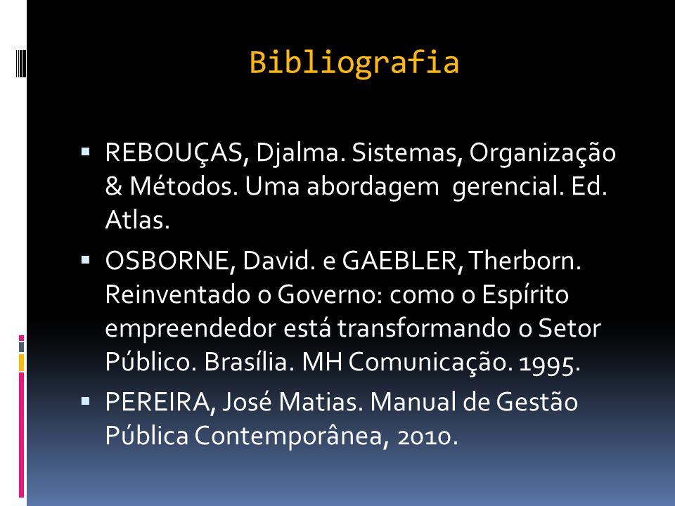 Bibliografia REBOUÇAS, Djalma. Sistemas, Organização & Métodos. Uma abordagem gerencial. Ed. Atlas.