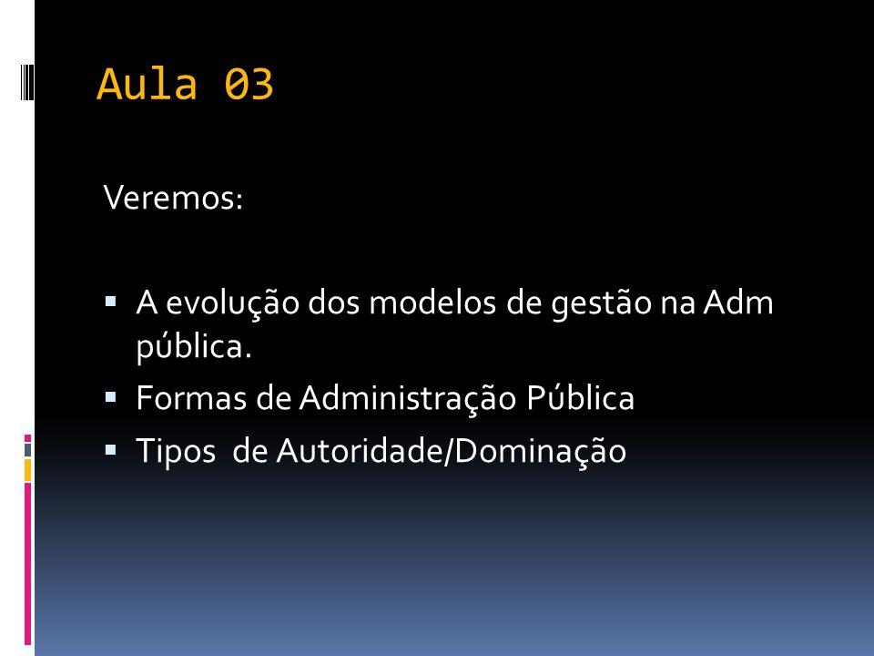 Aula 03 Veremos: A evolução dos modelos de gestão na Adm pública.