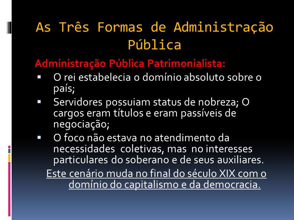 As Três Formas de Administração Pública