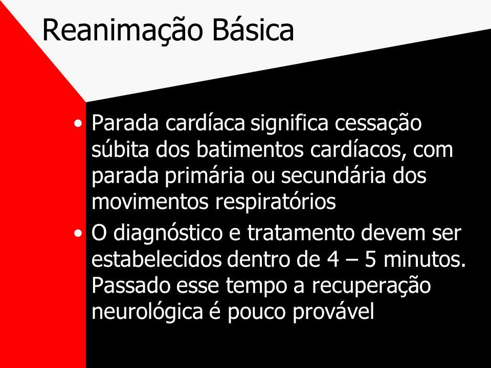 Reanimação Básica Parada cardíaca significa cessação súbita dos batimentos cardíacos, com parada primária ou secundária dos movimentos respiratórios.