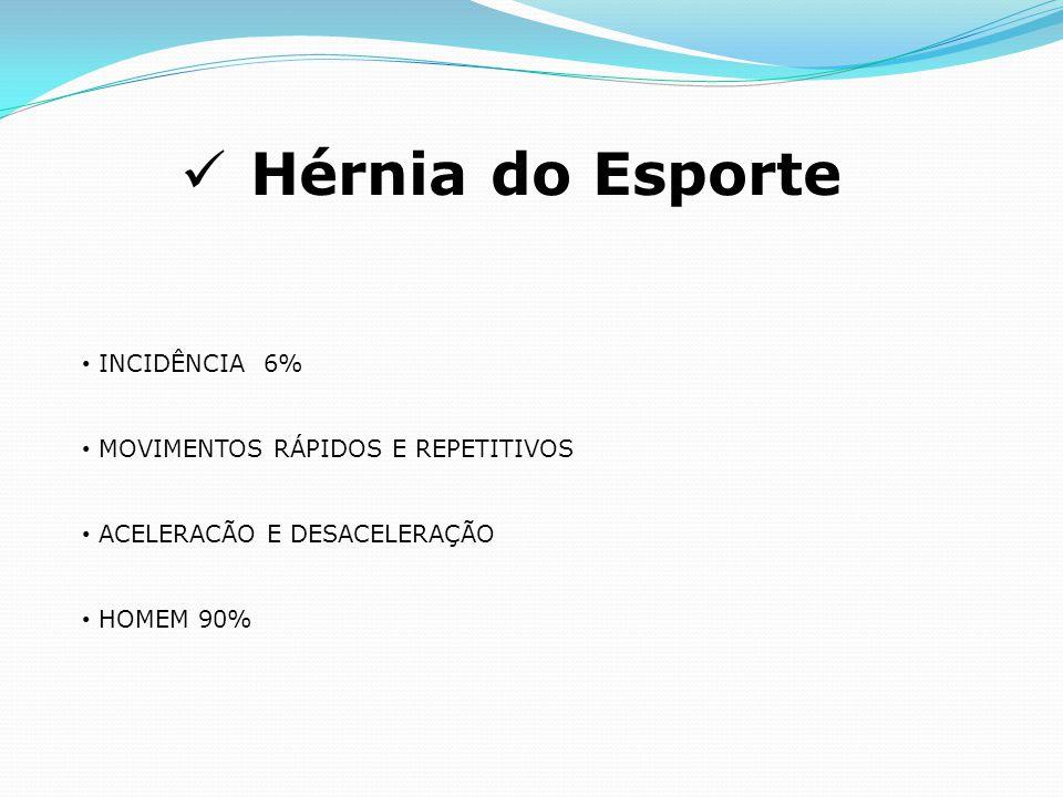 Hérnia do Esporte INCIDÊNCIA 6% MOVIMENTOS RÁPIDOS E REPETITIVOS