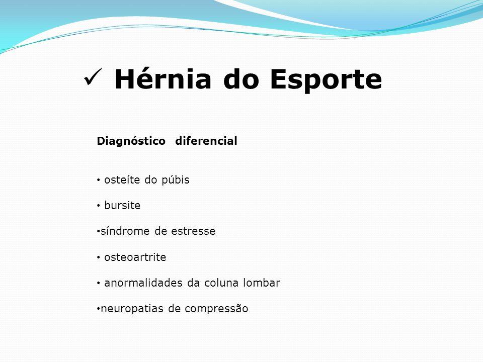 Hérnia do Esporte Diagnóstico diferencial osteíte do púbis bursite