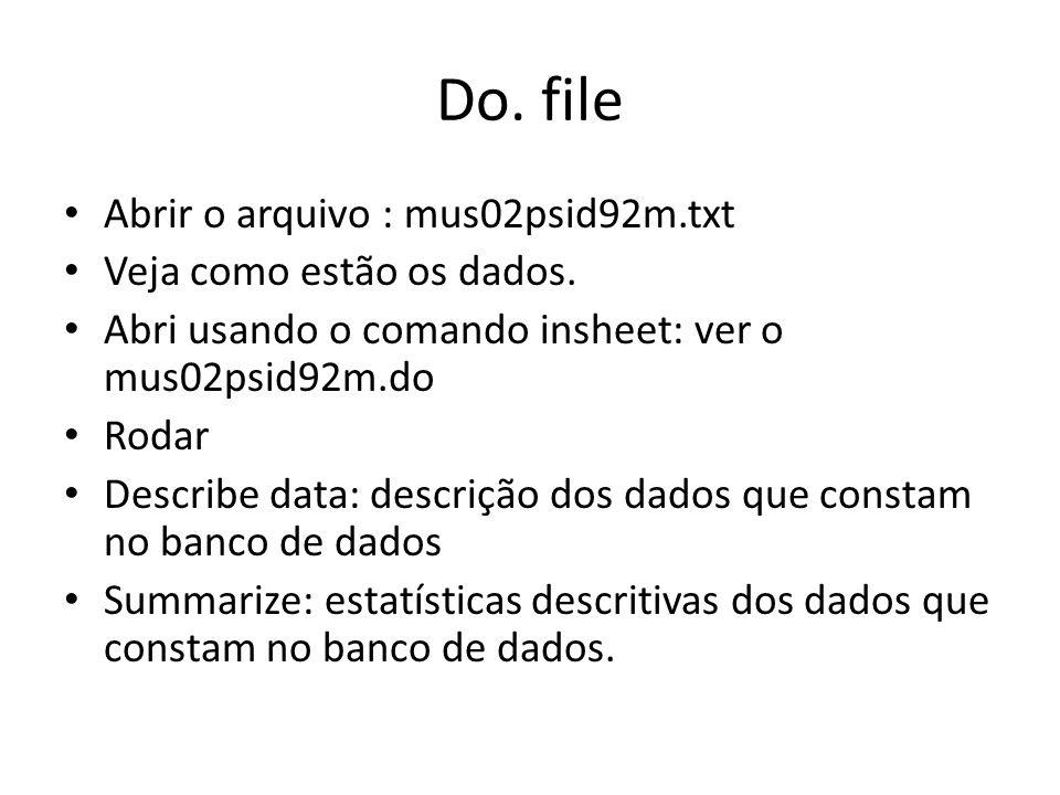 Do. file Abrir o arquivo : mus02psid92m.txt Veja como estão os dados.