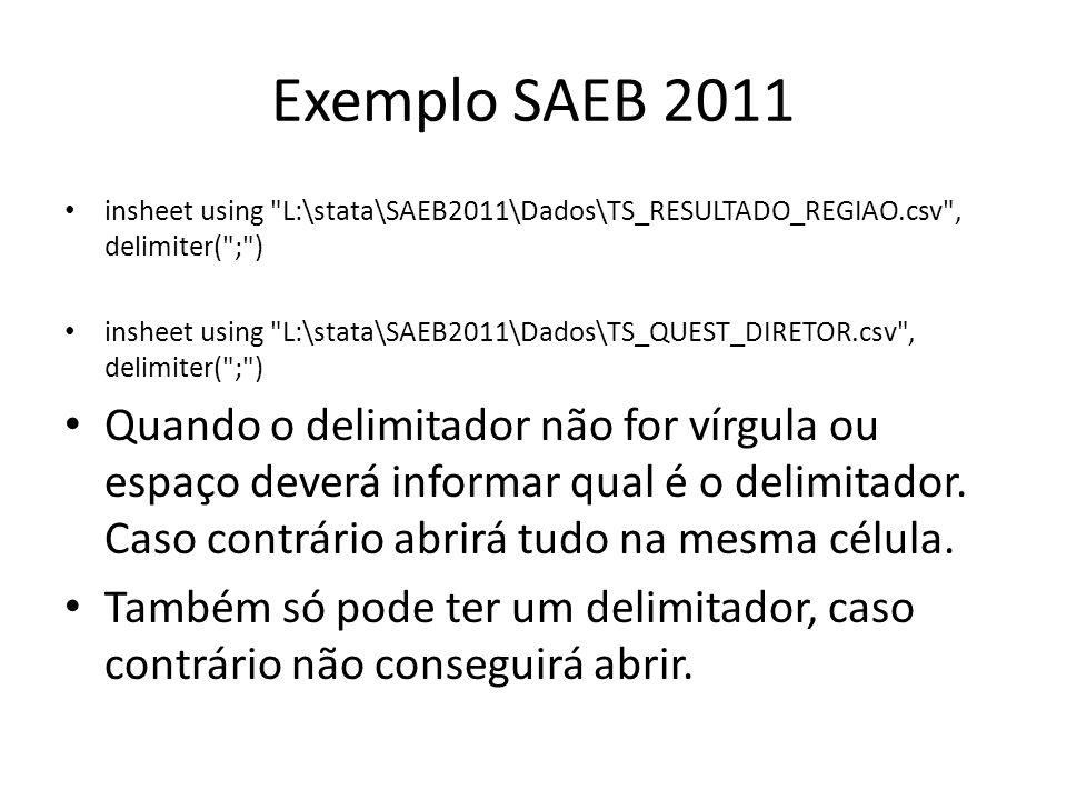 Exemplo SAEB 2011 insheet using L:\stata\SAEB2011\Dados\TS_RESULTADO_REGIAO.csv , delimiter( ; )