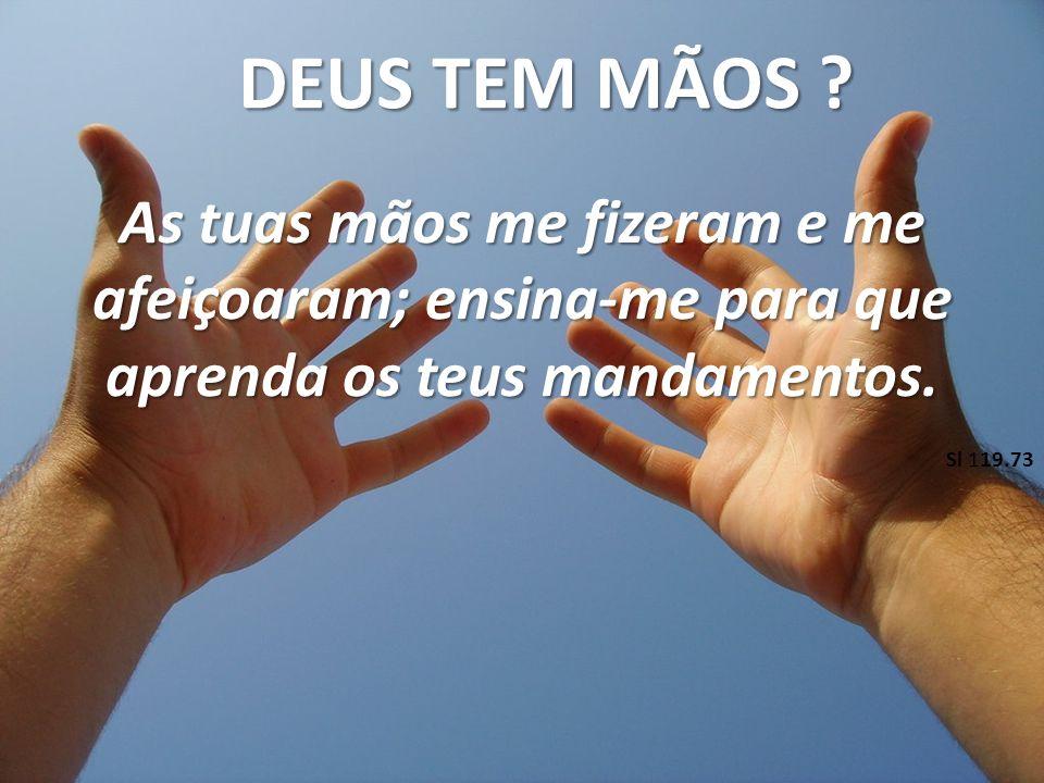 DEUS TEM MÃOS As tuas mãos me fizeram e me afeiçoaram; ensina-me para que aprenda os teus mandamentos.