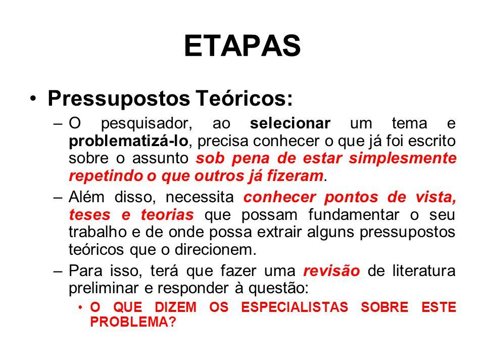 ETAPAS Pressupostos Teóricos: